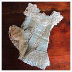 Antique Aqua Silk Pleated & Lace Drop Waist Dress For Bru