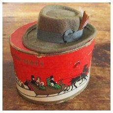 Miniature Salesman Sample Felt & Feather Stetson Hat Christmas Box