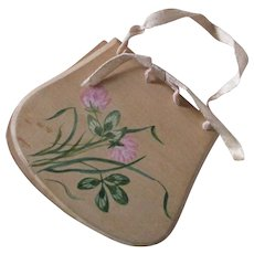 "Purse Shaped Needle Case Floral Theorem, Sepia ""Merry Christmas"" On Back"