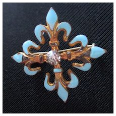 Small Gilt Enameled Fleur de Lis With Brilliant Nice For Doll