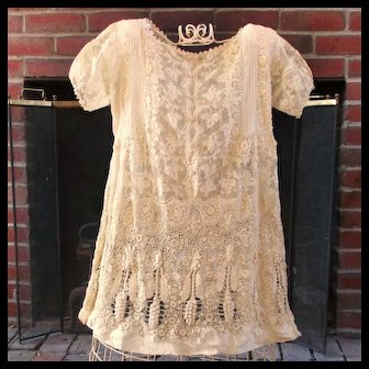 Exquisite Girl's Edwardian Irish Lace Gown Hanging Grapes
