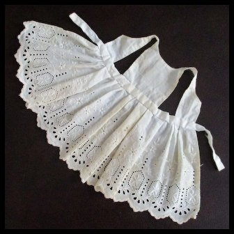 Old Vintage Eyelet Small Doll Pinafore