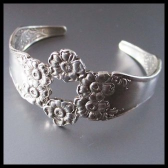 Lovely 1930's Sterling Floral Cuff Bracelet
