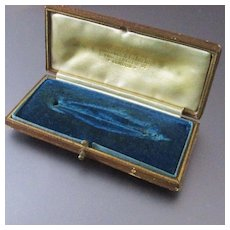 Antique Jewelry Presentation Box For Brooch Embossed Leather London