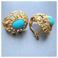 18K Persian Turquoise Pierced Earrings Hallmarks