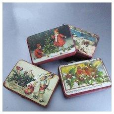 Miniature Vintage Christmas Lithograph Tins For Dollhouse