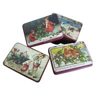 Miniature Vintage Christmas Lithograph Tins For Dollhouse