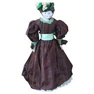Antique Two Piece Striped Silk Gown