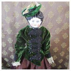 Green Velvet Antique Jacket & Bonnet With Beautiful Beading