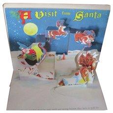 """1949 """"Christmas Time In Action"""" Pop Up Book Santa Reindeers Workshop"""