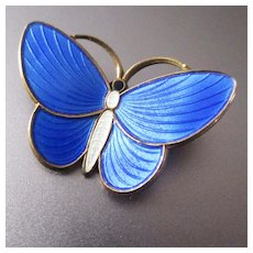 AKSEL HOLMSEN Sterling Guilloche Brilliant Blue Butterfly