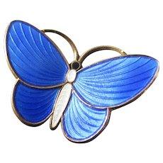 AKSEL HOLMSEN Sterling Guilloche Brilliant Blue Butterfly