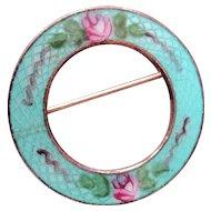 Pretty 60's Circle Pin Enamel Guilloche Roses on Gold Tone