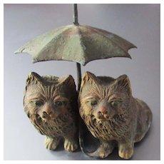 German Miniature Spelter Cats Under Umbrella