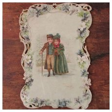 Large Victorian Christmas Cabinet Card Darling Boy & Girl
