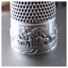 Antique Sterling Silver Thimble 1904 St. Louis Worlds Fair Simon Bros Size 10 Horses Covered Wagons RARE