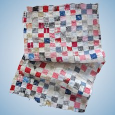 Beautiful Early Postage Stamp Doll Quilt