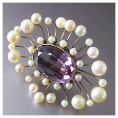 Stunning Edwardian 10K Amethyst Pearl Over-Sized Brooch