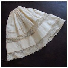 Antique Linen Doll's Petticoat Ribbons and Bows Net Lace