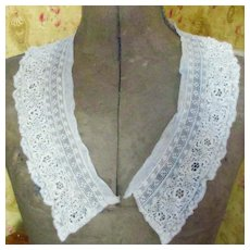 Lovely Edwardian Net Flounce Irish Clone Lace Large Shawl Collar
