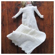 Antique Long Doll's Christening Gown For Early Doll