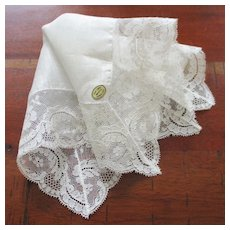Vintage Unused French Lace Linen Wedding Hanky With Foil Label