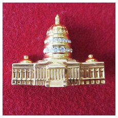 Monet 3D Capitol Building large Brooch Rhinestones
