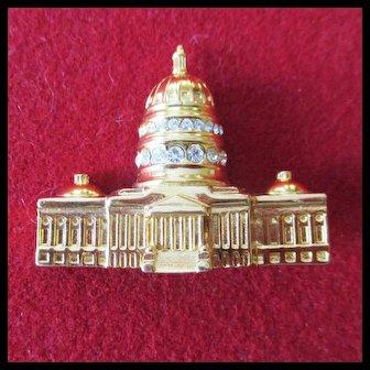 Monet 3D Capitol Building large Brooch Rhinestones