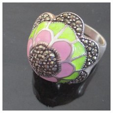 Domed Marcasite Cloisonné Pink Green Enameled Flowered Sterling Ring