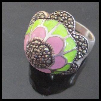 Domed Marcasite Cloisonné Pink Green Enameled Flowered Sterling Ring