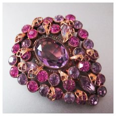 Large Bohemian Purple and Pink Czech Dress Clip