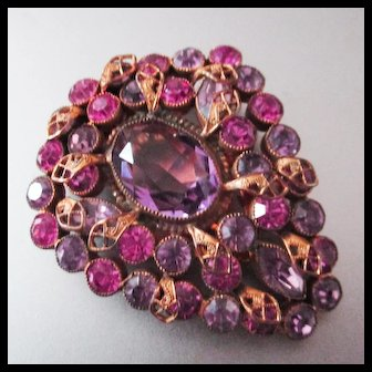 Large Bohemian Purple and Pink Czech Dress Clip