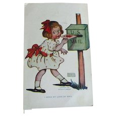 Darling  Girl Mailing Valentine By Katherine Gassaway Signed  Dated Card