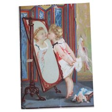 Darling Girl Kissing Mirror Leaves Doll On Floor