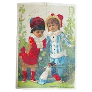 Cute French Card 2 Kids Playing with Dolls