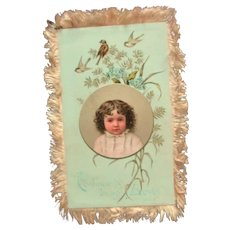 Two Sided  Aesthetic Style Large  Album Card Easter Silk Fringe 1883