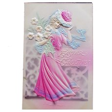 Highly Embossed Beautiful Easter Gibson Girl Holding Lily Bouquet