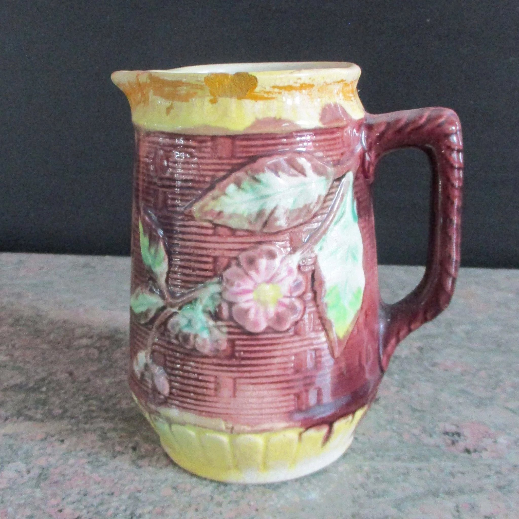 19c Small Majolica Basketweave Pitcher Vermont Vintage