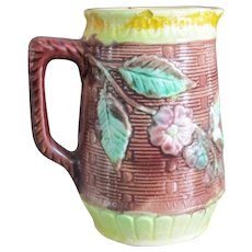 19C Small Majolica Basketweave Pitcher