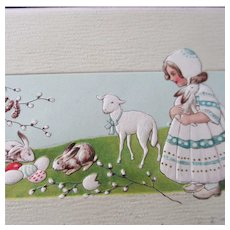 Sweet Girl With Bunnies and Lamb