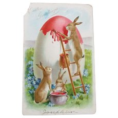 Bunnies Painting Giant Egg