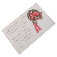 "Easter ""Bright Red Bonnet"" With Lace and Black Chantilly Lace & Poem"
