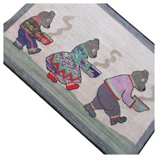 Fabulous 1920's Hooked Rug The 3 Bears For Wall Hanging