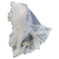 Antique Rose Pointe Brussels Lace Veil Provenance 19C For Bridal, Doll Or Trim