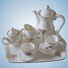 Darling Fluted Hand Painted Dollhouse Tea Set Complete Roses