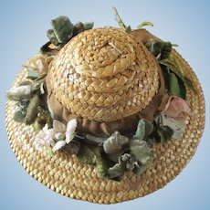 Beautiful Vintage Straw Doll Hat Velvet Silk Flowers