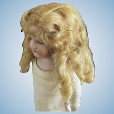 Antique Blonde Mohair Curled Wig with Bangs  Original Gilt Barretts