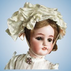 Gorgeous Antique Ruffled Ribboned French Lace Wired Doll Bonnet