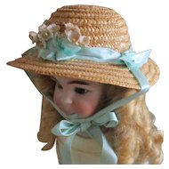 Straw Doll hat Velvet Ribbons