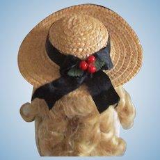 Vintage Straw Doll Hat Paper Mâché Berries